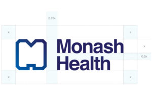 The clear space around the logo at minimum should be equivalent to the height of the M in the word Monash.